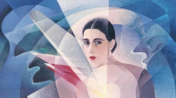 """Alfredo Gauro Ambrosi, """"Ritratto di Benedetta Cappa."""" Oil on canvas, 1934, Jacorossi collection (detail)"""