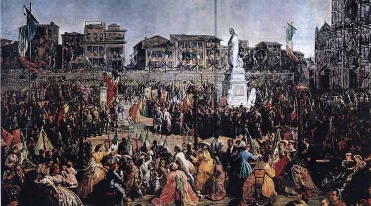 Giacomelli, Vincenzo - Inaugurazione del monumento a Dante in Piazza Santa Croce a Firenze (14/5/1865)
