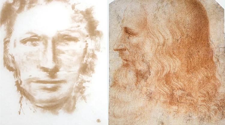side by side image of young and old Da Vinci