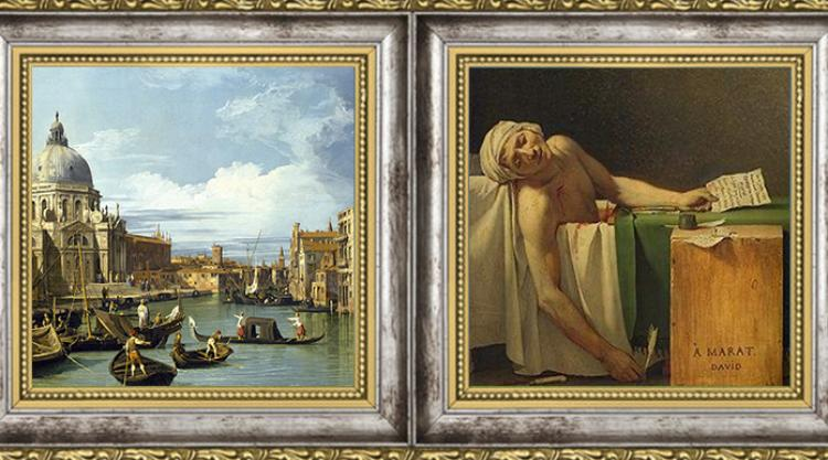 Canaletto Entrance to the Grand Canal, Venice, c. 1730/Jacques-Louis David Death of Marat 1793
