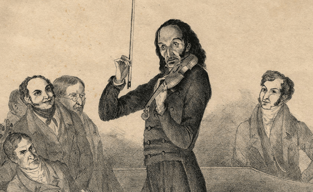 Detail of a contemporary poster advertising one of Paganini's concerts.  Source: https://houstonsymphony.org/paganini-theme/