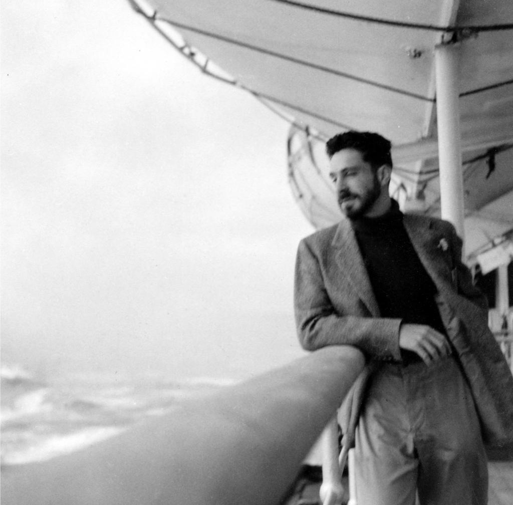 Photo of Anthony Hecht crossing the Atlantic, circa 1950