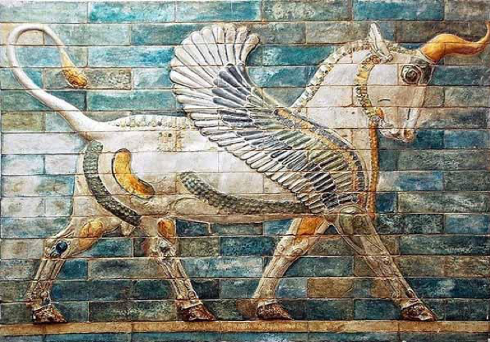 Winged aurochs, 510 BC, Palace of Darius in Susa, Susa, Iran (Louvre)
