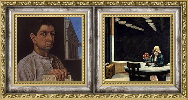 Giorgio De Chirico Self-portrait 1920/Edward Hopper Automat 1927